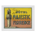 Hotel Majestic Florence (border) Print