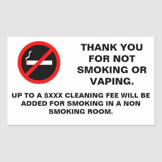 Hotel room no smoking no vaping sign rectangular sticker