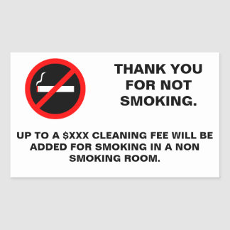 Hotel room no smoking sign rectangular sticker