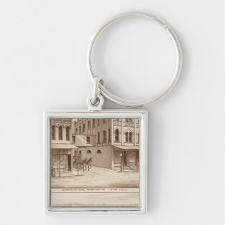 Hotel, vineyard, Tulare Silver-Colored Square Key Ring