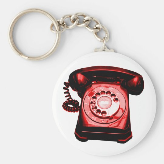 Hotline Red Basic Round Button Key Ring