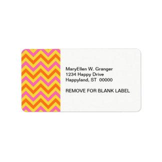 HotPink Pineapple Pumkin LG Chevron ZigZag Pattern Address Label