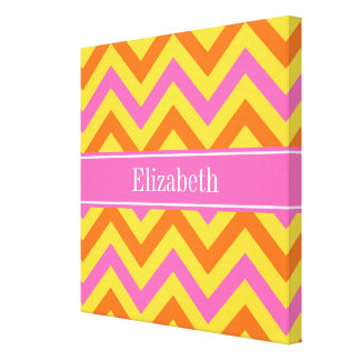 HotPink Pineapple Pumpkin LG Chevron Name Monogram Gallery Wrapped Canvas