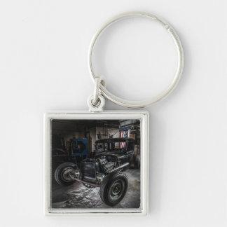 Hotrod in a Garage Keychain/Keyring Silver-Colored Square Key Ring
