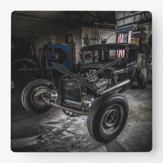 Hotrod in a Garage Wall Clock