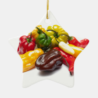 Hottest chilies ceramic star decoration