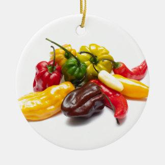Hottest chilies round ceramic decoration