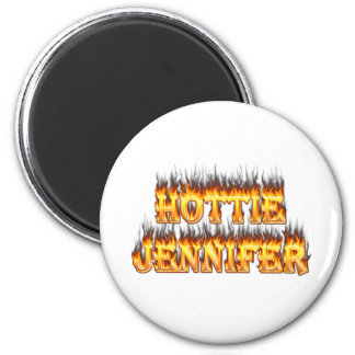 Hottie Jennifer fire and flames 6 Cm Round Magnet