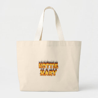 Hottie Mary fire and flames. Canvas Bags