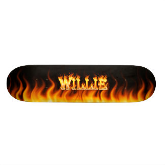Hottie Willie fire and flames Skate Board