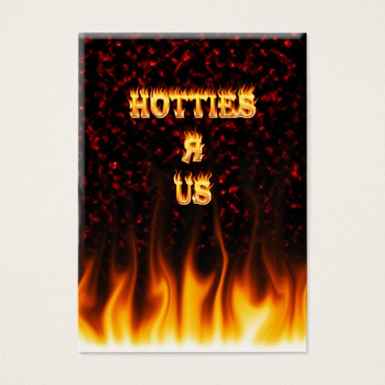 Hotties R Us fire and flames red marble Business Card