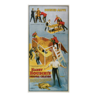 Houdini ~ Buried Alive Vintage  Escape Artist Poster