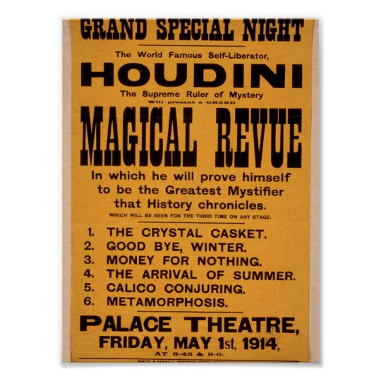 Houdini, 'Magical Revue' Retro Theatre Poster