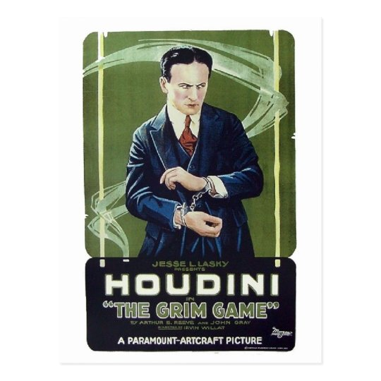 "Houdini - ""The Grim Game"" Postcard"