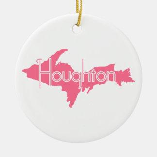 Houghton Michigan Upper Peninsula Round Ceramic Decoration