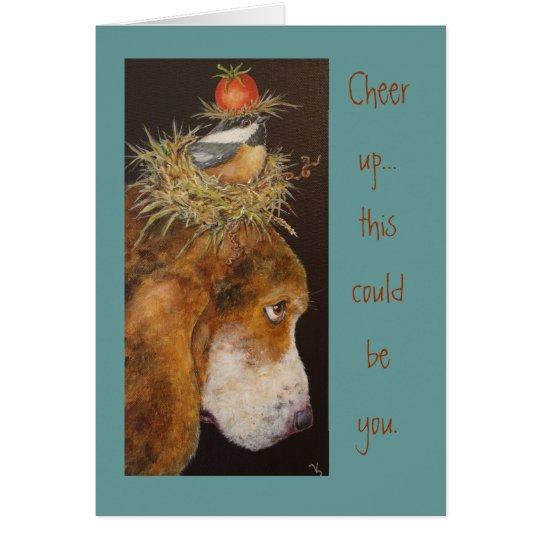 Hound and chickadee card
