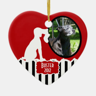 Hound Dog Christmas Double-Sided Heart Ceramic Christmas Ornament