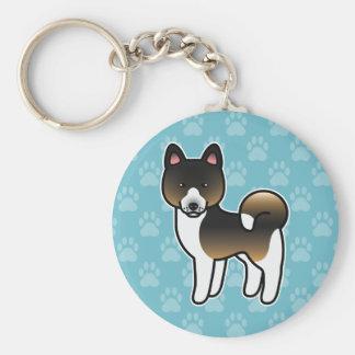 Hound Tricolor Akita Cartoon Dog Key Ring