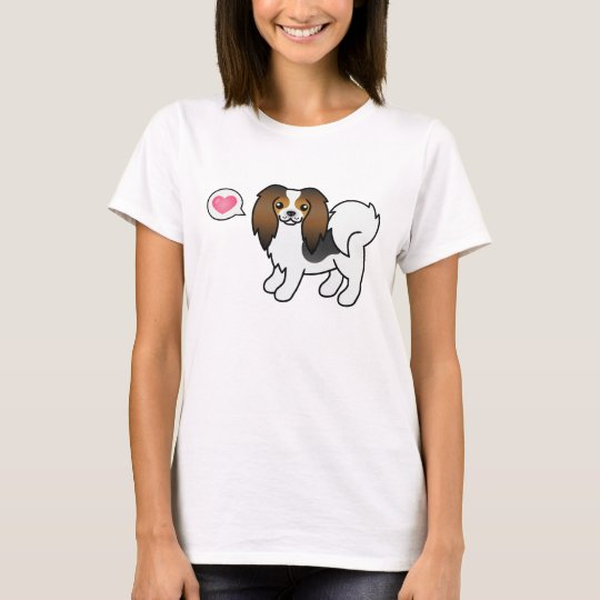 Hound Tricolor Phalène Dog With A Pink Heart T-Shirt