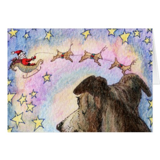 Hound Watches Santa and Reindeer in Star Sky CARD