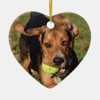 Houndie Beagle Ears Flapping Valentine's Day Heart Christmas Ornament