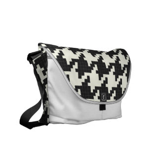 Hounds Tooth Pixel-Textured Courier Bags