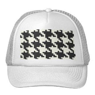 Hounds Tooth Pixel-Textured Mesh Hats