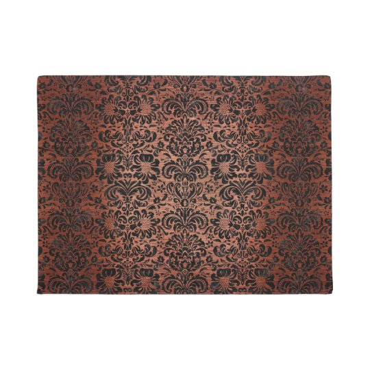 HOUNDSTOOTH1 BLACK MARBLE & COPPER BRUSHED METAL DOORMAT