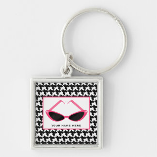 Houndstooth and Retro Pink Sunglasses Silver-Colored Square Key Ring
