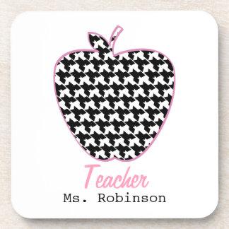 Houndstooth Apple Teacher Drink Coaster