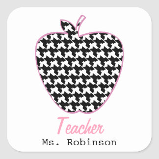 Houndstooth Apple Teacher Square Sticker