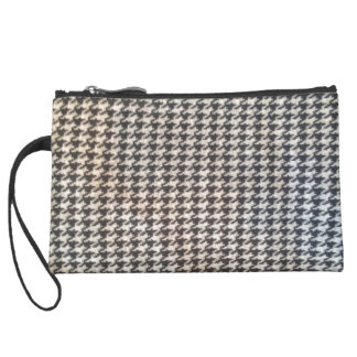 Houndstooth black white elegant chic classic style wristlet clutch