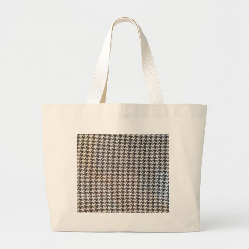 Houndstooth black white elegant chic classic style canvas bag