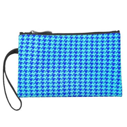 houndstooth blue turqouise classical elegant style wristlet purse