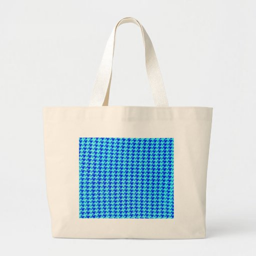 Houndstooth blue turqouise classical elegant style canvas bag