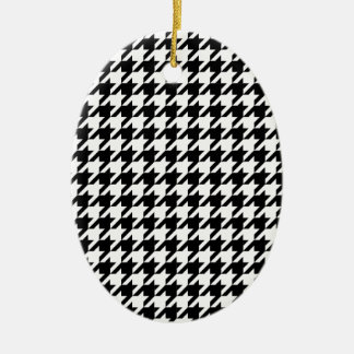 houndstooth check pattern christmas ornament