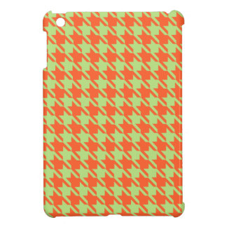 Houndstooth Check Pattern in Green and Orange iPad Mini Cover