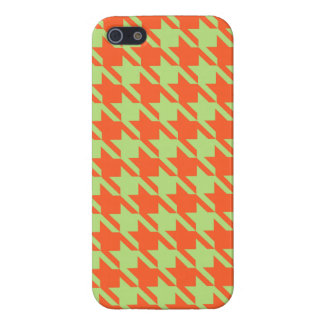 Houndstooth Check Pattern in Green and Orange iPhone 5/5S Cover