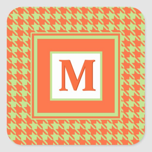 Houndstooth Check Pattern in Green and Orange Stickers