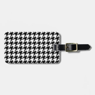 houndstooth check pattern luggage tag