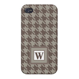Houndstooth Checks Patten in Grey Browns iPhone 4 Cover
