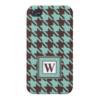 Houndstooth Checks Pattern in Brown and Green iPhone 4/4S Cover