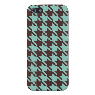 Houndstooth Checks Pattern in Brown and Green iPhone 5/5S Case