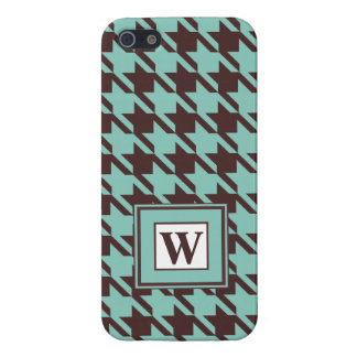 Houndstooth Checks Pattern in Brown and Green iPhone 5/5S Cover
