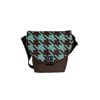 Houndstooth Checks Pattern in Brown and Green Messenger Bag