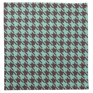 Houndstooth Checks Pattern in Brown and Green Napkin