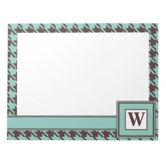 Houndstooth Checks Pattern in Brown and Green Notepad