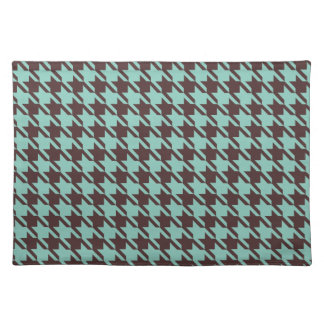 Houndstooth Checks Pattern in Brown and Green Placemat