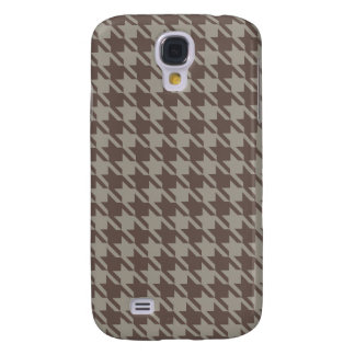 Houndstooth Checks Pattern in Grey Browns Galaxy S4 Case