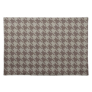 Houndstooth Checks Pattern in Grey Browns Placemat